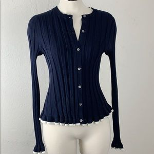 Ann Taylor Navy Blue & White Silk Ribbed Cardigan
